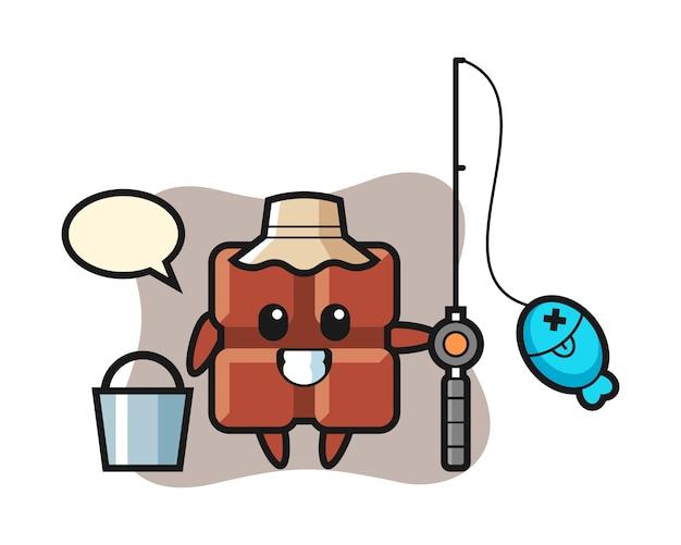 Mascotte de personnage de tablette de chocolat en tant que pêcheur, adorable style kawaii.
