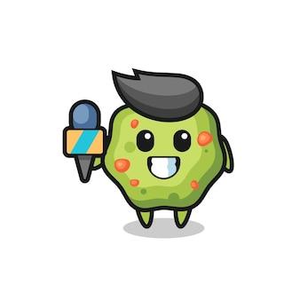 Mascotte de personnage de vomi en tant que journaliste, design de style mignon pour t-shirt, autocollant, élément de logo
