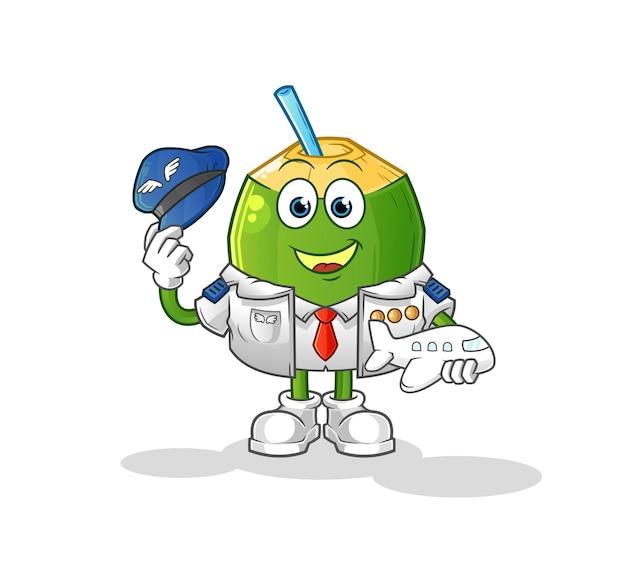 La mascotte pilote de la boisson à la noix de coco. dessin animé