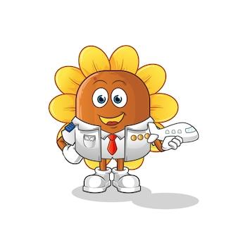 Mascotte de pilote de fleur de soleil