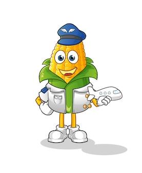Mascotte de pilote de maïs. dessin animé