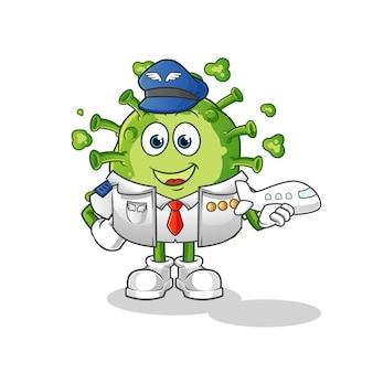 Mascotte de pilote de virus