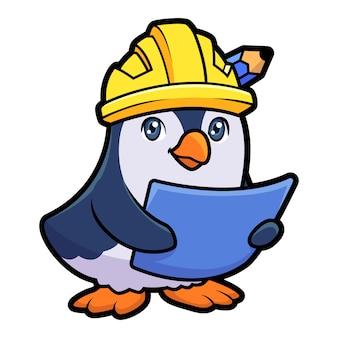 Mascotte de pingouin de constructeur de dessin animé
