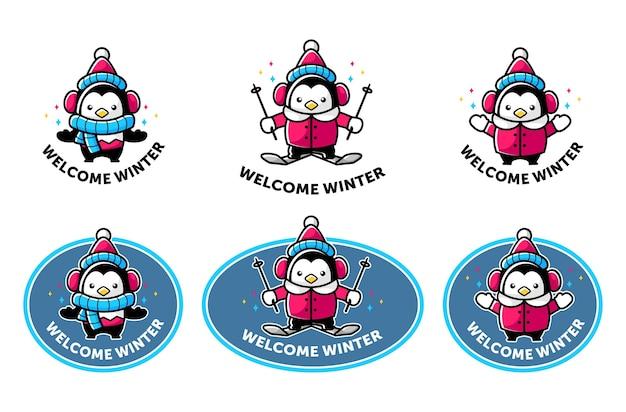 Mascotte de pingouin de dessin animé dans le thème de l'hiver