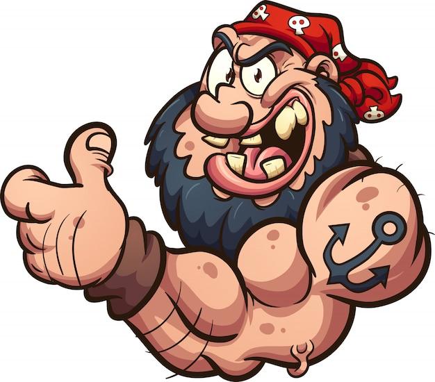 Mascotte de pirate forte