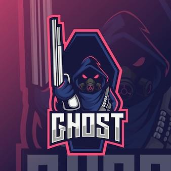 Mascotte de pistolet fantôme esport logo