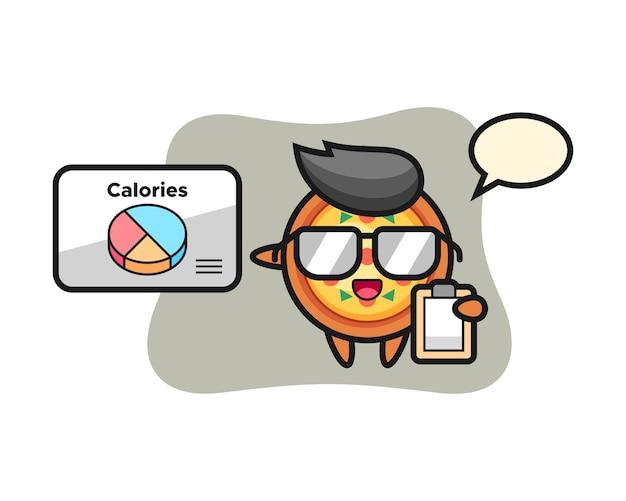 Mascotte de pizza en tant que diététiste