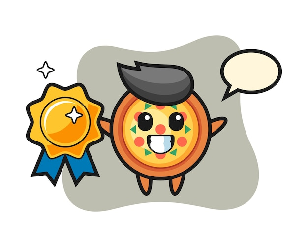 Mascotte de pizza tenant un badge doré