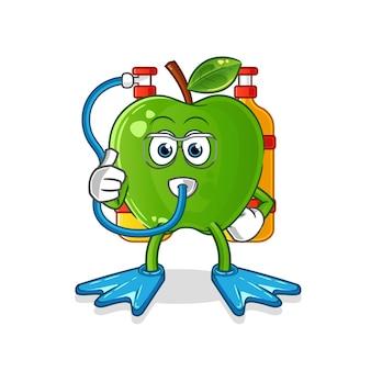 Mascotte de plongeur pomme verte. vecteur de dessin animé
