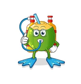 La mascotte des plongeurs à la noix de coco. dessin animé