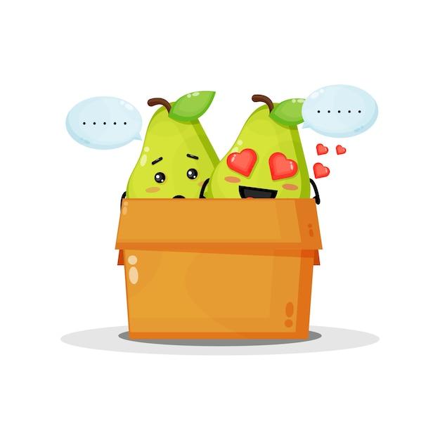 Mascotte de poire mignonne dans la boîte