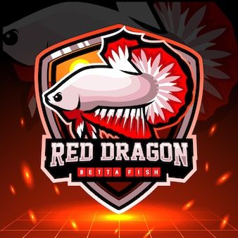 Mascotte de poisson betta dragon rouge. création de logo esport