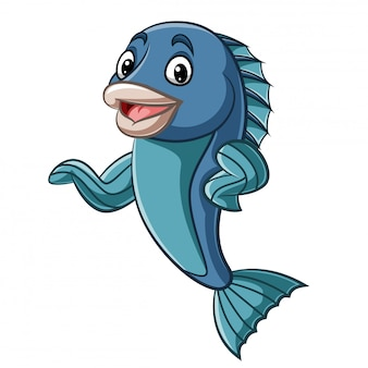 Mascotte de poisson dessin animé agitant la main