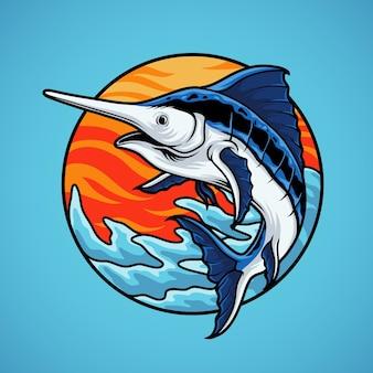 Mascotte de poisson marlin sur fond bleu