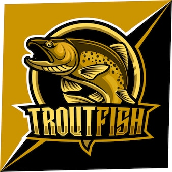 Mascotte De Poisson Truite Pour Logo Sports Et Esports Vecteur Premium