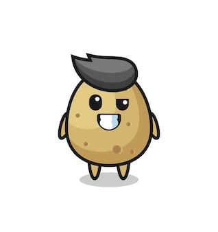 Mascotte de pomme de terre mignonne avec un visage optimiste, design de style mignon pour t-shirt, autocollant, élément de logo