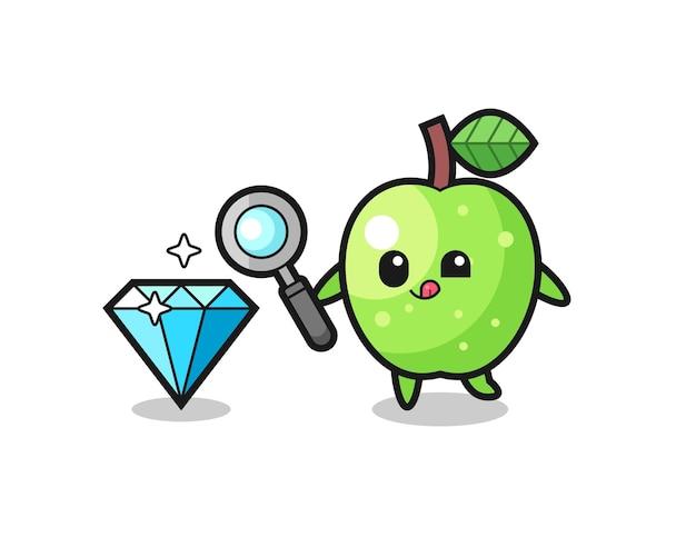La mascotte de pomme verte vérifie l'authenticité d'un diamant, un design de style mignon pour un t-shirt, un autocollant, un élément de logo