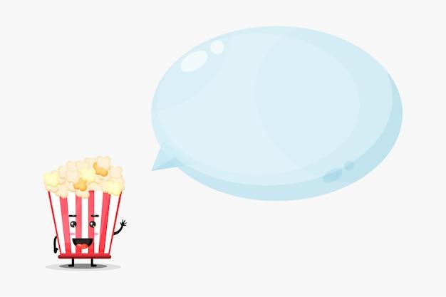 Mascotte De Pop-corn Mignonne Avec Discours De Bulle Vecteur Premium