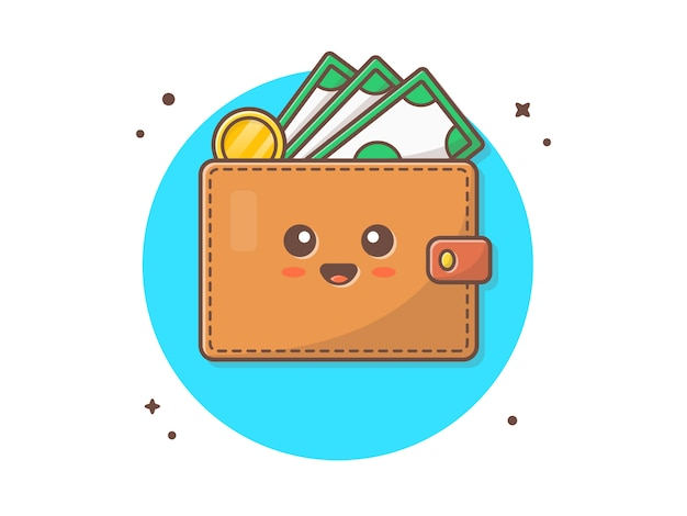 Mascotte de portefeuille mignon vector icon illustration