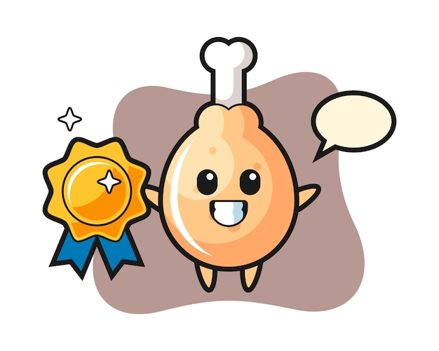 Mascotte de poulet frit tenant un badge doré