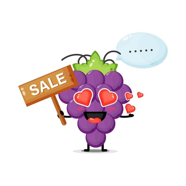 Mascotte de raisin mignon avec le signe des ventes