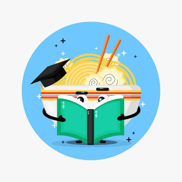 Mascotte de ramen mignon lisant un livre