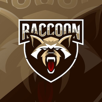 Mascotte de raton laveur logo esport design