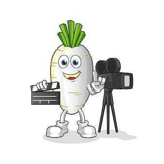 Mascotte de réalisateur de radis blanc. dessin animé