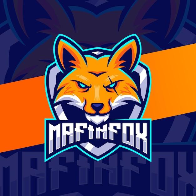 Mascotte de renard mafieux pour la conception de logos e-sport