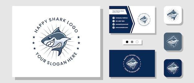 Mascotte requin poisson marin océan dessin animé illustration logo design avec carte de visite modèle de mise en page
