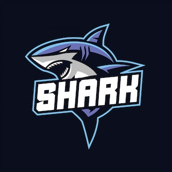 Mascotte de requin pour le logo des sports et esports isolé sur fond sombre