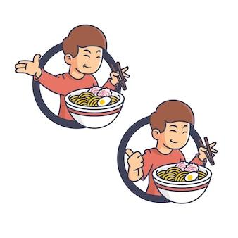 Mascotte rétro garçon mange des ramen