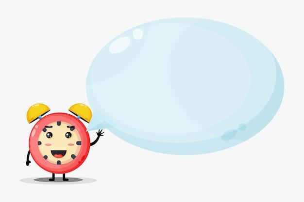 Mascotte de réveil mignon avec discours de bulle