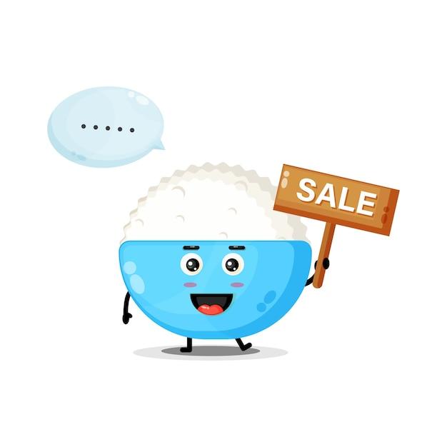 Mascotte de riz mignon avec le signe des ventes