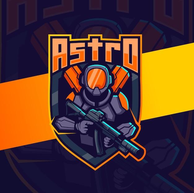 Mascotte de robot astronaute avec création de logo esport arme