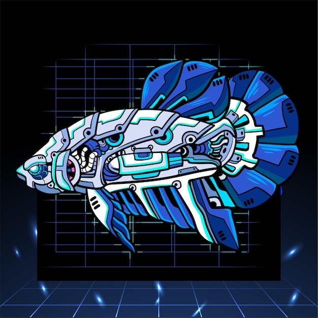 Mascotte de robot mecha poisson betta. logo esport