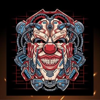 Mascotte de robot mecha tête de clown.