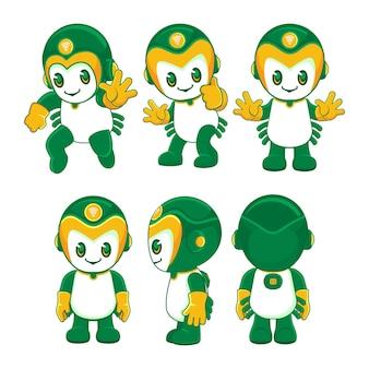 Mascotte de robot mignon dans différents styles