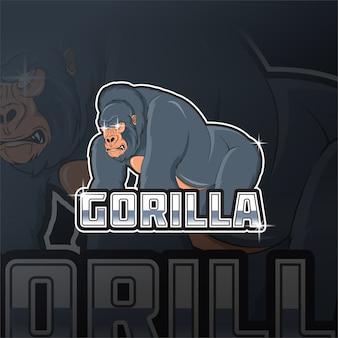 Mascotte de roi gorille logo e sport