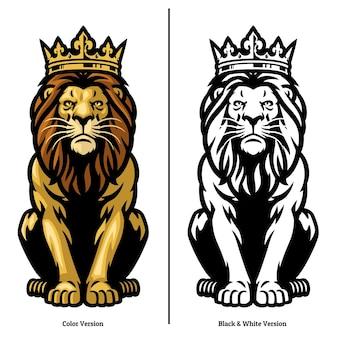 Mascotte de roi lion portant couronne