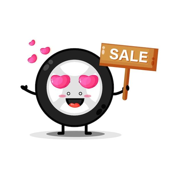 Mascotte de roues de voiture mignonne avec le signe des ventes