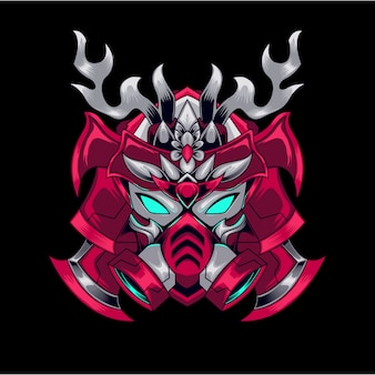 Mascotte rouge gundam gaming logo e sport