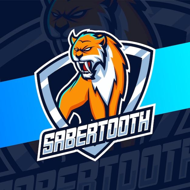 Mascotte de sabertooth logo esport