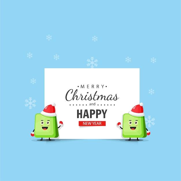 Mascotte de sac mignon avec des voeux de noël et du nouvel an