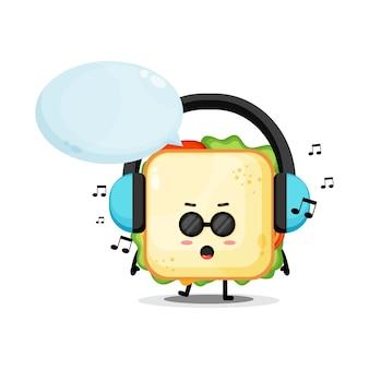 Mascotte de sandwich mignon écoutant de la musique