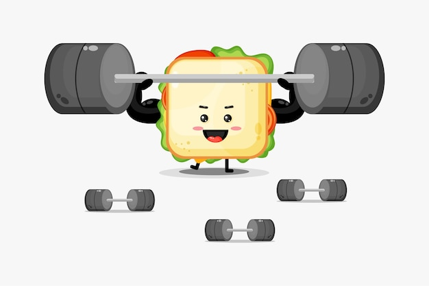 Mascotte de sandwich mignon soulevant une barre