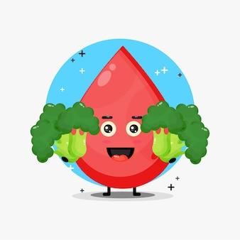 Mascotte de sang mignon portant du brocoli végétal