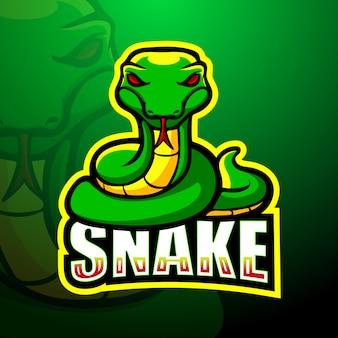 Mascotte de serpent vert illustration esport