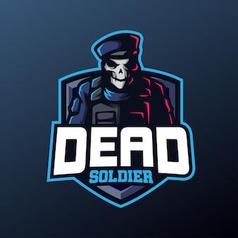 Mascotte de soldat crâne pour logo sports et esports
