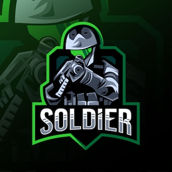 Mascotte de soldat logo esport